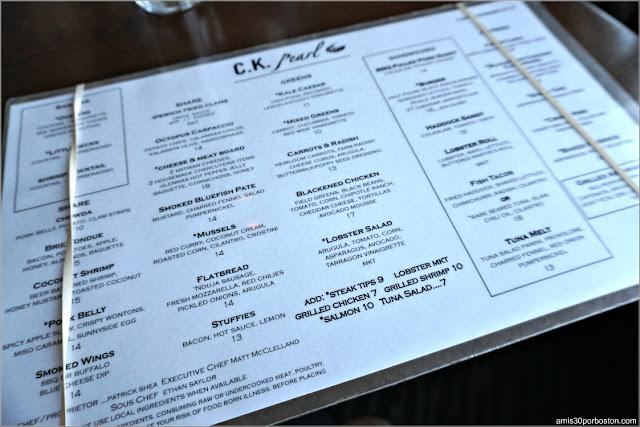 Menú del Restaurante CK Pearl de Essex