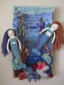 Knitted Diorama w/Mermaids