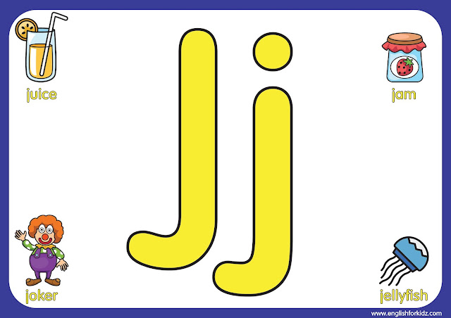 Letter j - big printable alphabet letters for kids learning English
