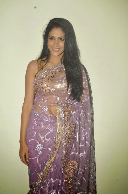 Lavanya Tripathi Hot Hip Navel Show Photos In Violet Saree