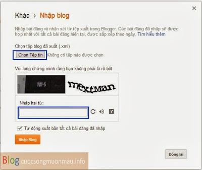 Cách nhập dữ liệu vào blogspot
