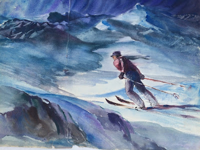Quirk Artist, Quirk Painter, Quirk Painting, Quirk watercolor painting, Skier painting