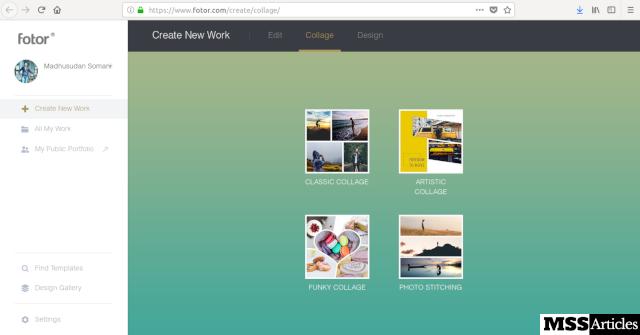 Fotor Collage MAker Screenshot online - MSS Articles