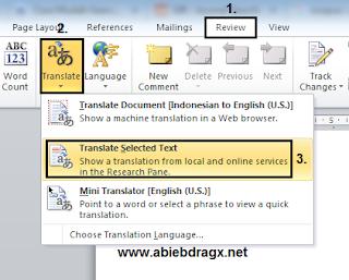 Translate bahasa inggirs ke indonesia, terjemahan, microsoft word, mudah dan cepat