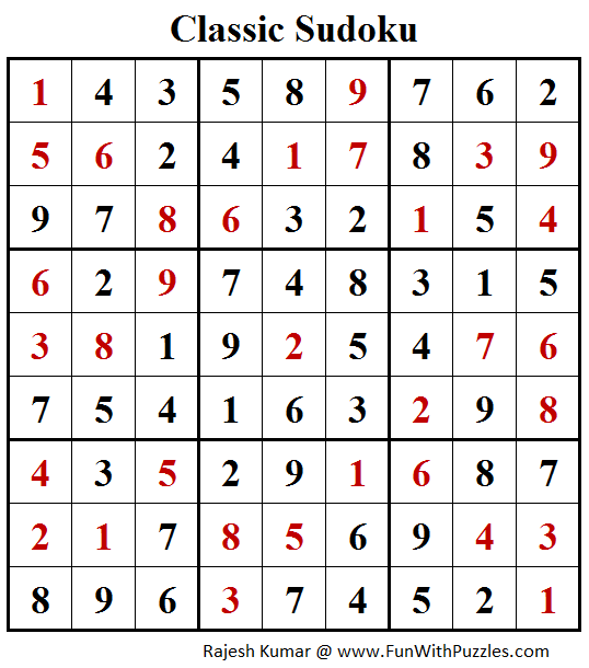 Classic Sudoku Puzzles (Fun With Sudoku #207) Solution