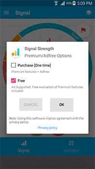نختار الخدمة المجانية من تطبيق Signal Strength