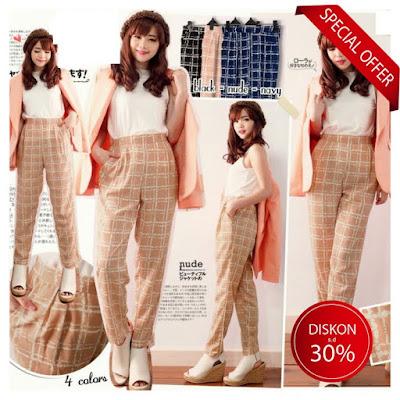 celana bahan celana santai motif longgar casual hijabber baju Korea grosir murah