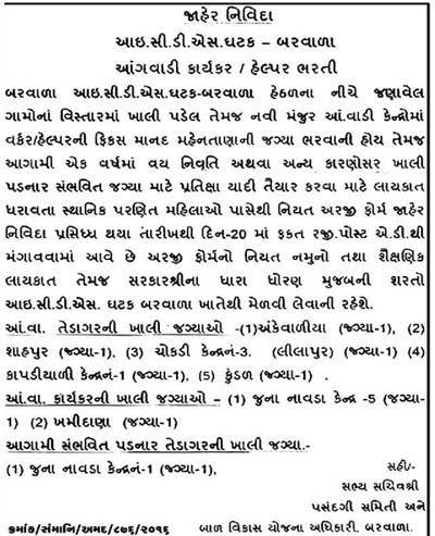 ICDS, Barvala Recruitment 2016 for Anganwadi Worker and Helper