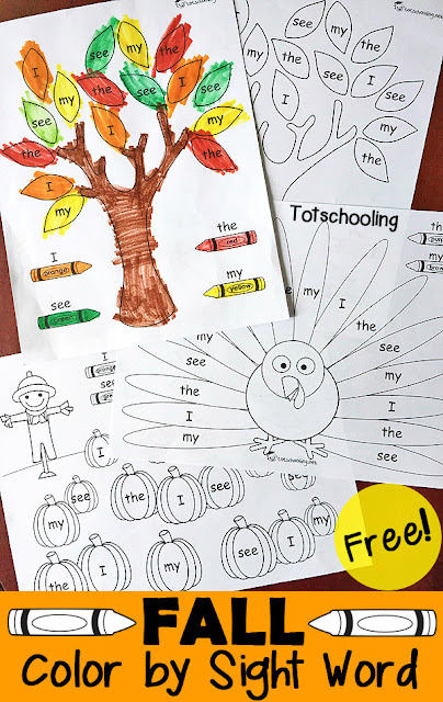 Spring Color by Sight Word Totschooling