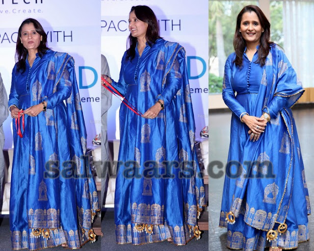 Royal Blue Floor Length Silk Salwar
