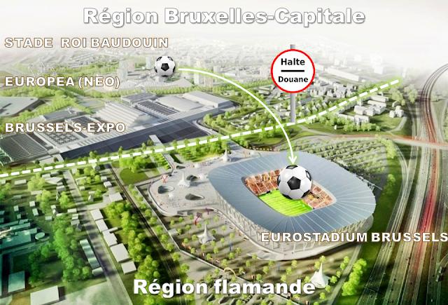 Nouveau stade national de football en vue de l'EURO 2020 - Rocambolesque feuilleton belgo-bruxellois à suivre de rebondissements en rebondissements de 2008 à 2015 - Implantation du nouveau stade sur le parking C - Terrain appartenant à la Ville de Bruxelles mais situé sur la commune de Grimbergen en Région flamande - Bruxelles-Bruxellons