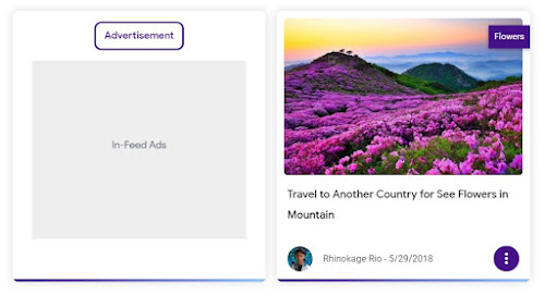 Tampilan In-feed Ads Blanter Violet