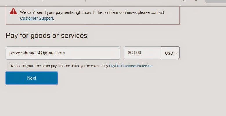 See This Image I Will Get The Error When Send Money For Goods And Service