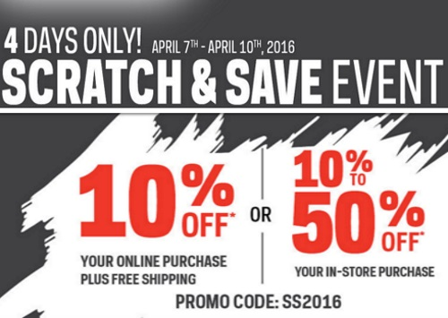 Sportchek Scratch & Save Event 10-50% Off Promo Code