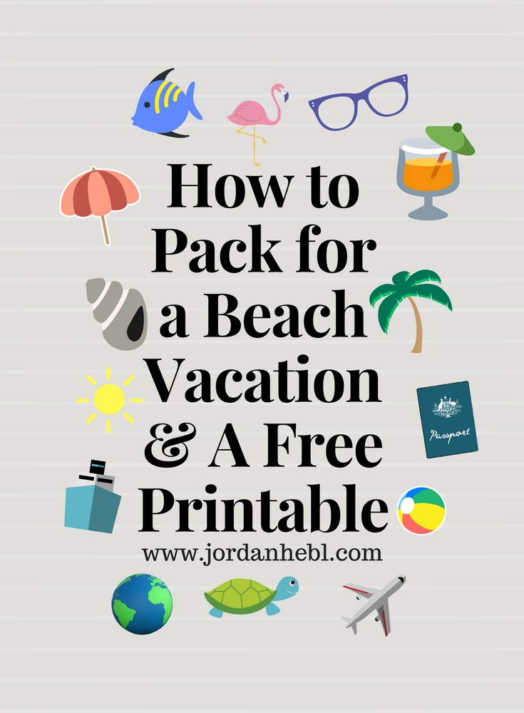 graphic regarding Printable Beach Packing List named Jordan Hebl: Packing Record for a Seashore Holiday + Free of charge Printable
