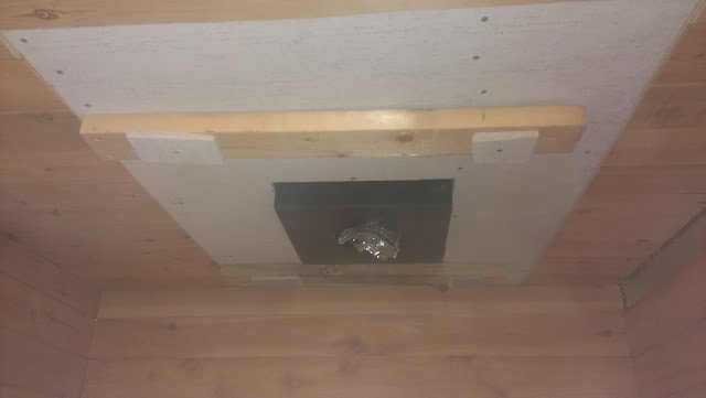 2x4s to support final layer of Durock above the wood burning stove.