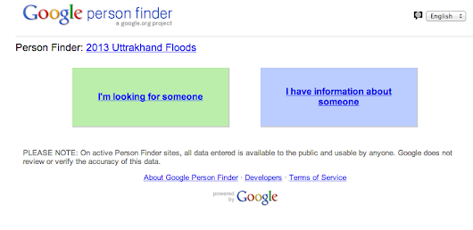 Floods in Uttarkhand, India: Google Person Finder launched to offer information on missing people in flood affected areas