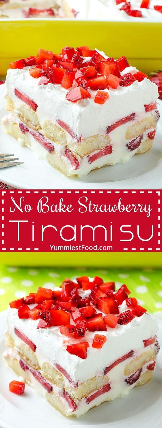 No Bake Strawberry Tiramisu Recipe #Nobake #Strawberry #Tiramisu #Cakerecipe #Dessertrecipe #Pinkyrecipe #Easydessert