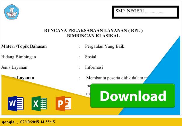 Format RPL (Rencana Pelaksanaan Layanan) Bimbingan Klasikal SMP Ms. Word