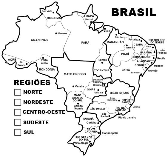 mapa do brasil para colorir regiões nesta atividade de geografia