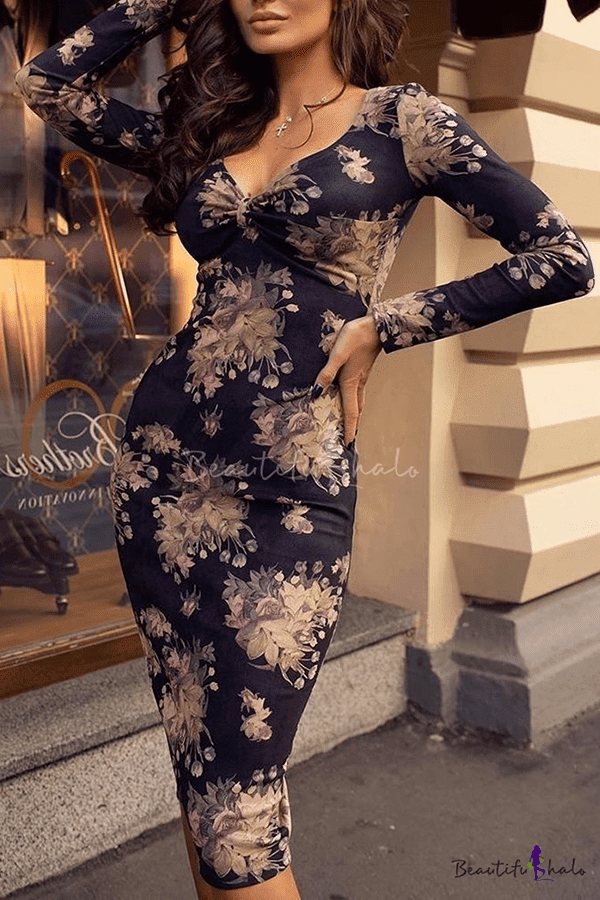 Women's Retro Floral Printed V-Neck Long Sleeve Sexy Bodycon Navy Midi Dress
