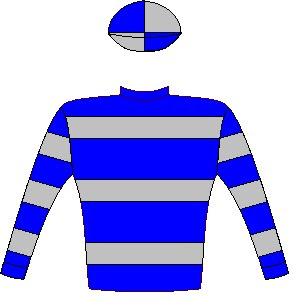 Mac De Lago - Silks - Vodacom Durban July 2016 - Royal blue and silver hoops, hooped sleeves, quartered cap