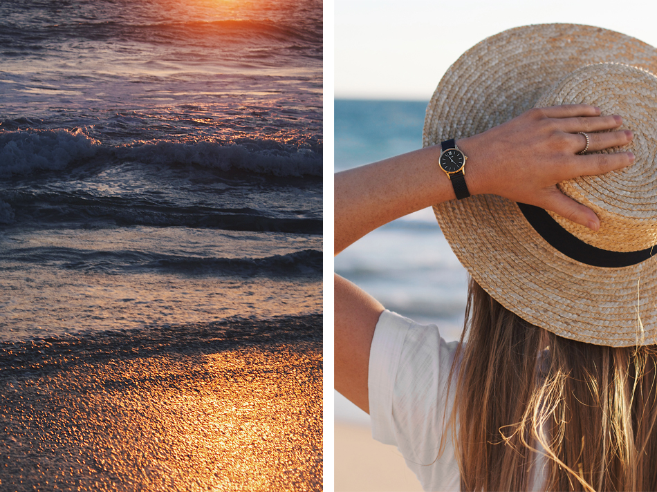 Perth sunset, beach picnic, Lack of Color straw boater hat, Cluse La Vedette watch
