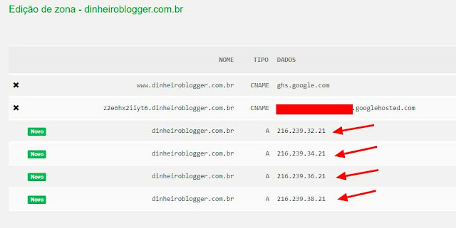zonas dns blogger registrobr