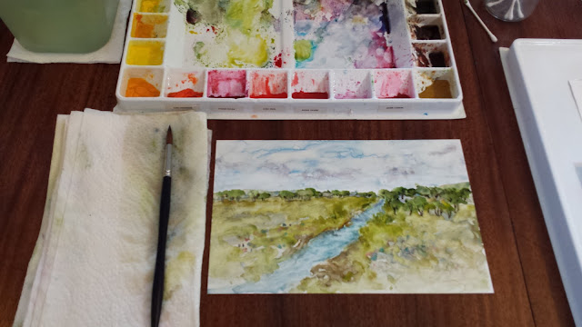 Watercolor landscape on Yupo surface.