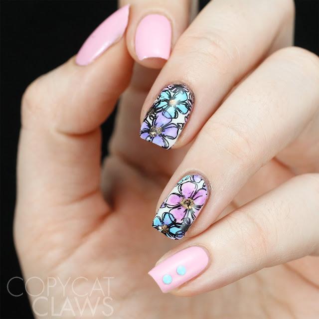 Pastel Floral Nail Stamping