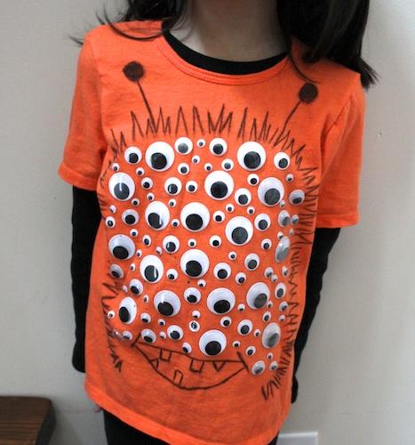 creative googly eye halloween crafts - Googly Eye Monster Shirt