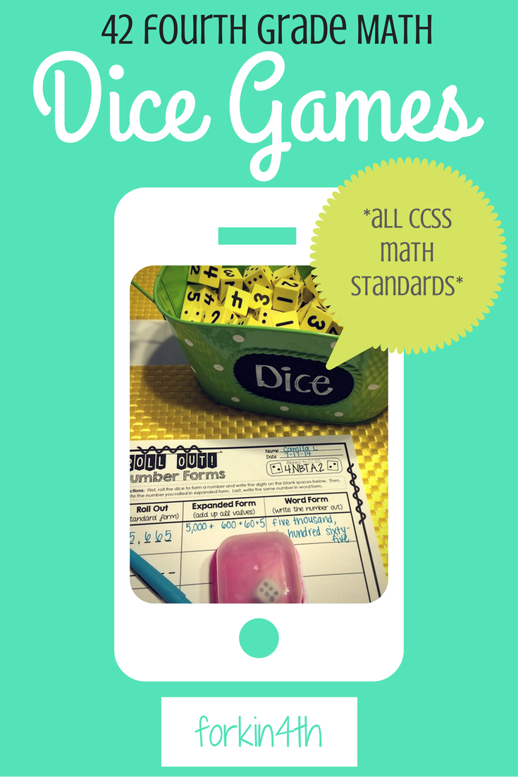 Fourth Grade Dice Games [ALL common core MATH standards]