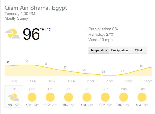 توقعات حالة الطقس #مصر 30-06-2017 حرارة قد تصل 46