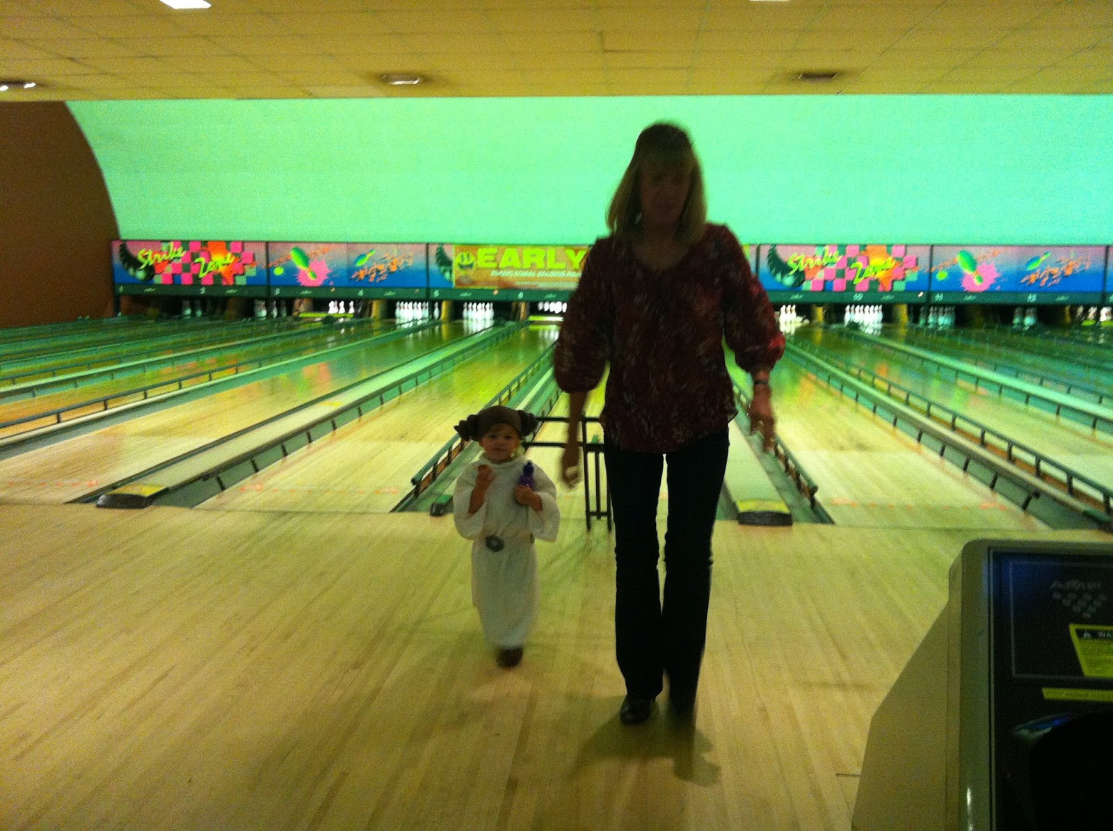 5 ways to feed your family's Star Wars obsession - bowling in a Princess Leia costume
