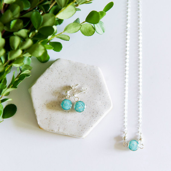 rolled aqua Japanese paper, silver, and resin earrings and necklace