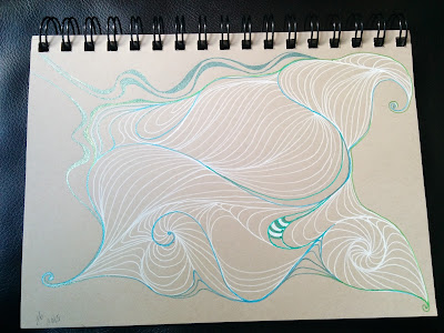 tan sketchbook paper with abstract drawing in white and metallic gel pen using auras in the zentangle style