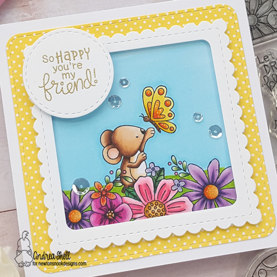 So Happy You're My Friend Card by Andrea Shell | Floral Fringe and Garden Mice Stamp Sets and  Frames Squared Die Set by Newton's Nook Designs #newtonsnook #handamade