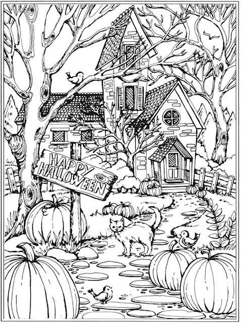 autumn scenes coloring book sample 01