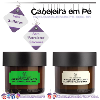 Máscaras Antipoluição de Chá de Matcha do Japão e Ginseng e Arroz da China - The Body Shop (Sem Sulfatos, Sem Petrolatos e Sem Silicones)