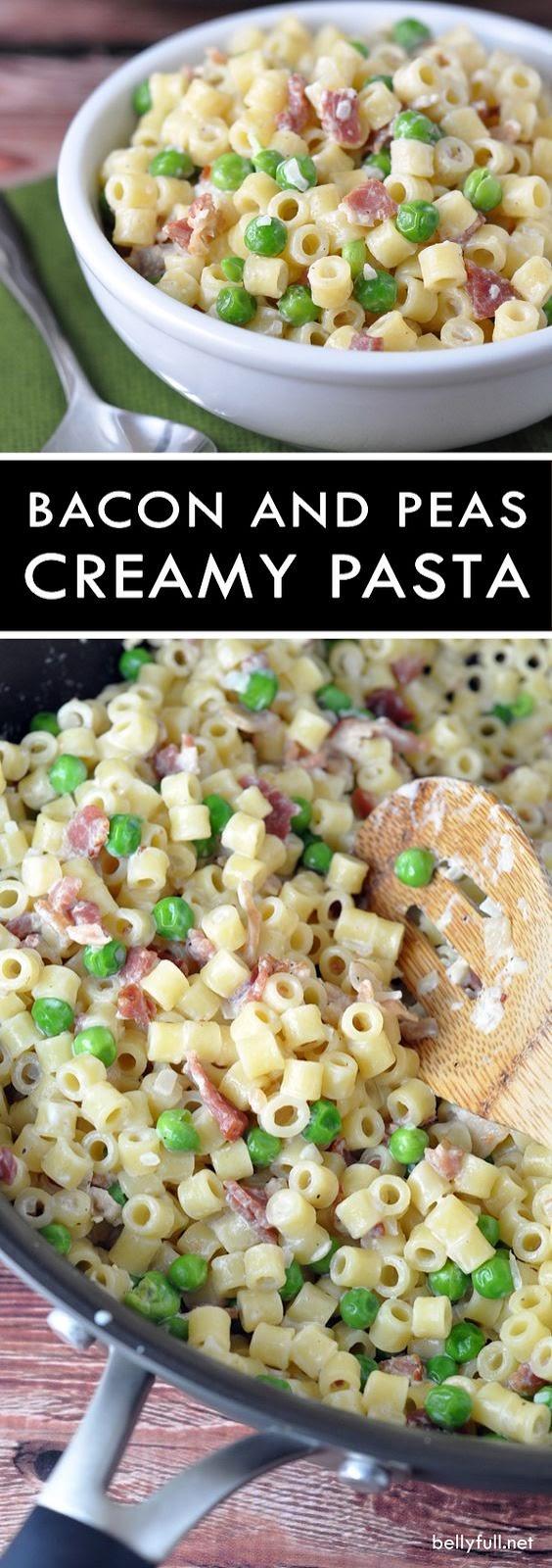 Creamy Pasta with Bacon and Peas | CUCINA DE YUNG