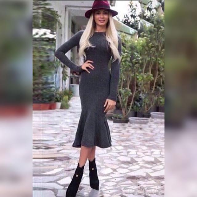 Μακρυμάνικο μίντι φόρεμα CAROLA GRAFIT