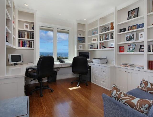 best custom white home office desk facing wall modern design ideas