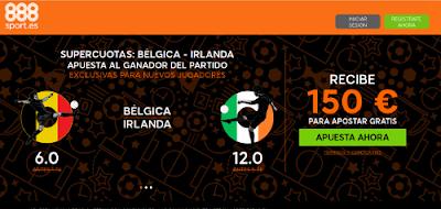 888sport bienvenida 150 euros + supercuota 6 o 12 Belgica o Irlanda gana 18 junio