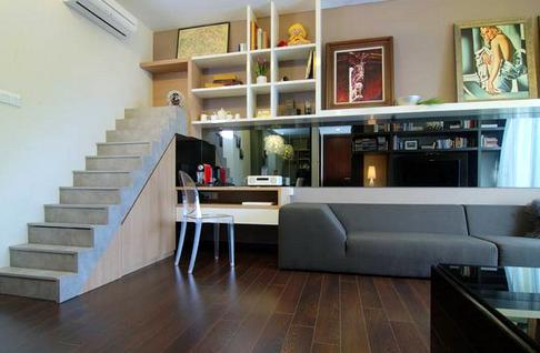 Apartment one floor but looks like two floors