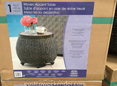 Have a place to set your drink, tablet, or book when lounging outside with the Woven Accent Table