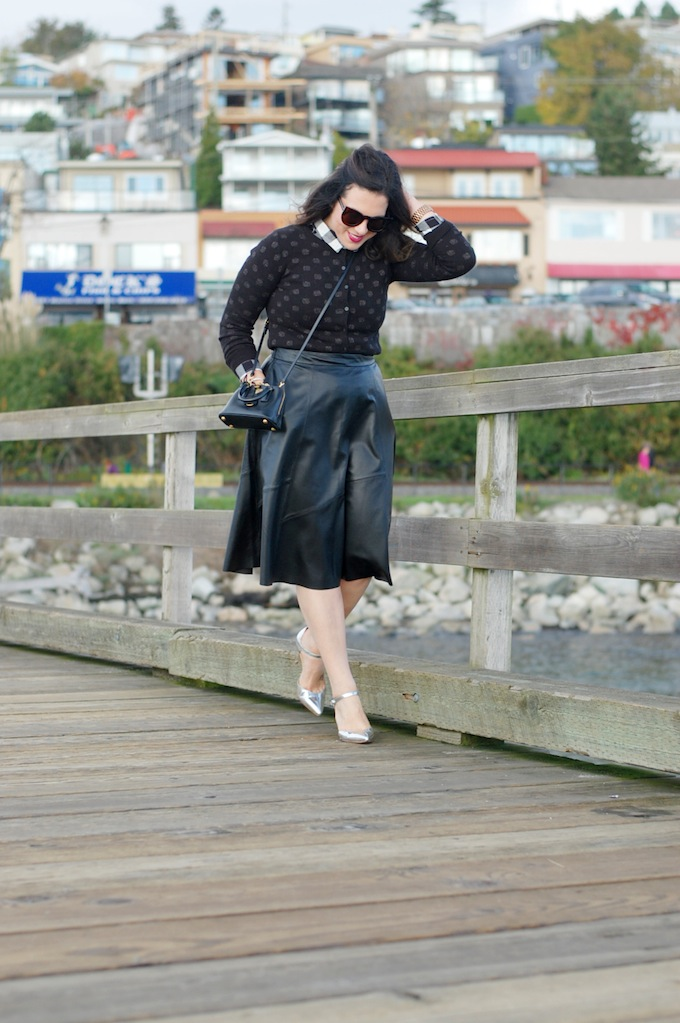 Banana Republic leather midi skirt and mini Prada bag Vancouver fashion blogger