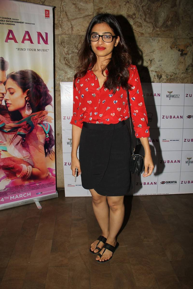 Radhika Apte Legs Show Photos In Red Dress