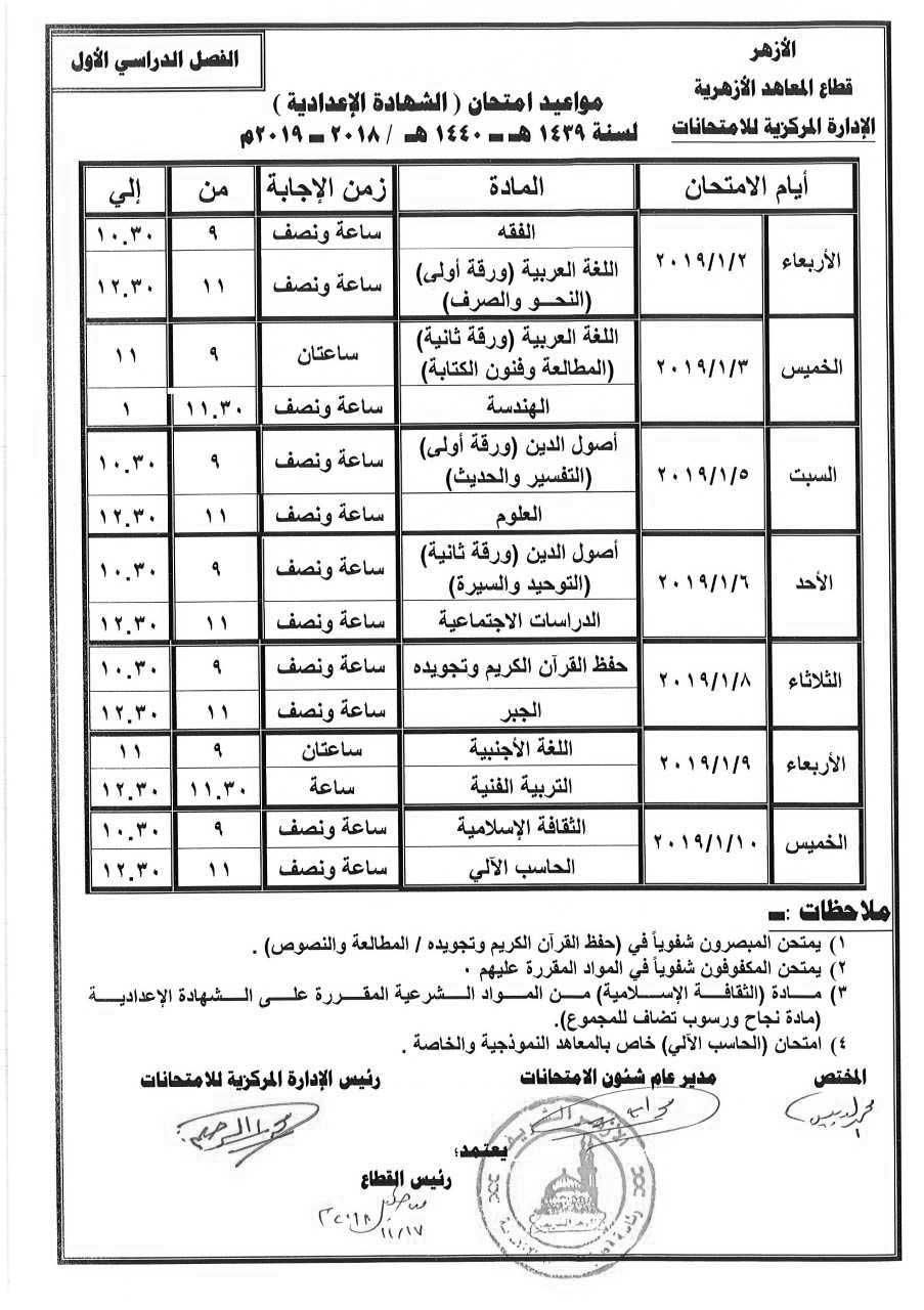 جدول إمتحانات الصف الثالث الإعدادي الأزهري الترم الأول 2019