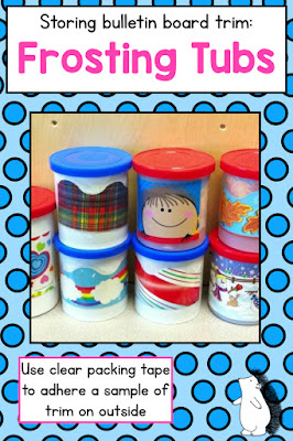 Use frosting tubs to organize and store bulletin board trim!