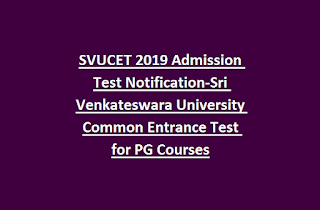 SVUCET 2019 Admission Test Notification-Sri Venkateswara University Common Entrance Test for PG Courses